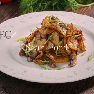 Картофель жареный с грибами и луком